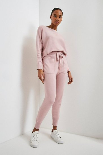 Blush Knit Soft Yarn Cuffed Joggers