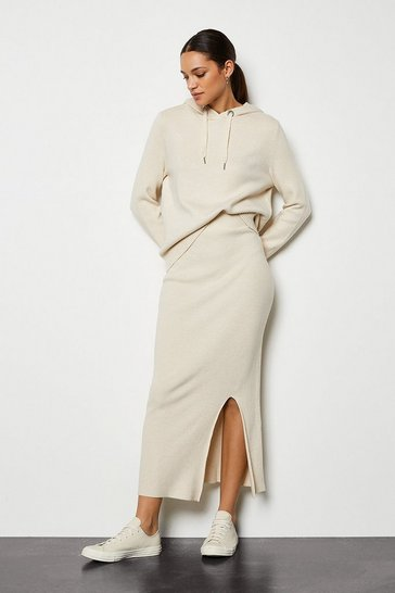 Oatmeal Soft Yarn Pencil Knit Midi Skirt