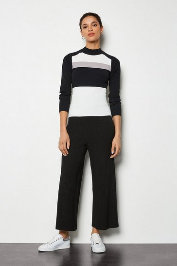 Black Soft Yarn Wide Leg Knit Trousers