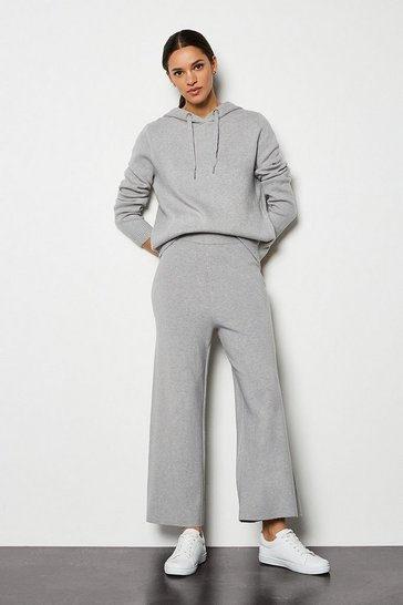 Grey marl Soft Yarn Wide Leg Knit Trousers