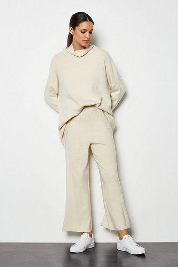 Oatmeal SoftYarn Wide Leg Knit Trousers