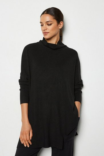 Black Soft Yarn Long Sleeve Oversized Jumper