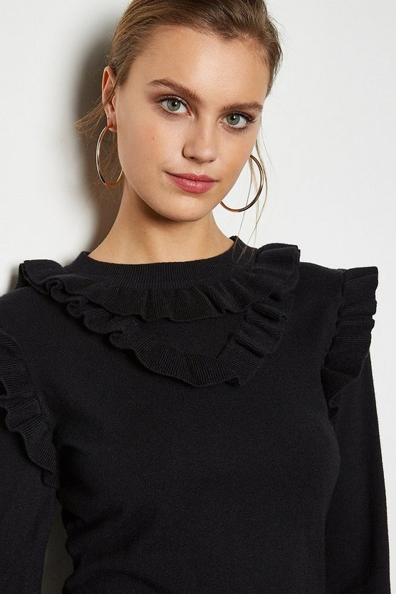 Black Ruffle Collar Long Sleeve Jumper