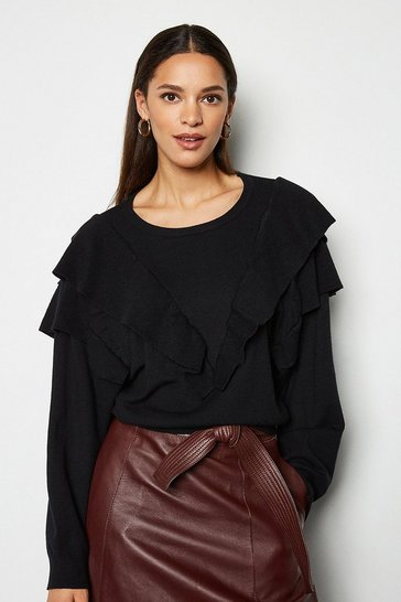 Black Ruffle Neck Long Sleeve Jumper