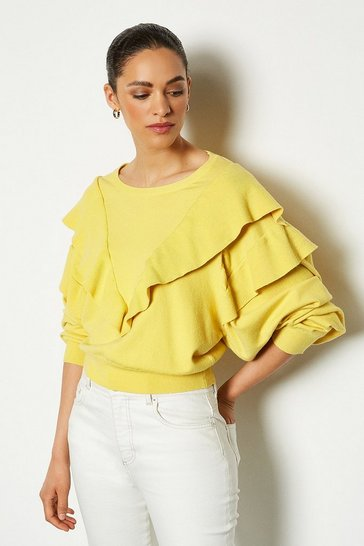 Lemon Ruffle Neck Long Sleeve Jumper