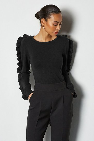 Black Ruffle Long Sleeve Jumper