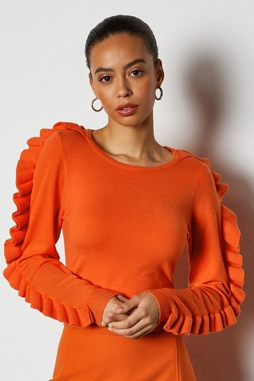 Orange Ruffle Long Sleeve Jumper