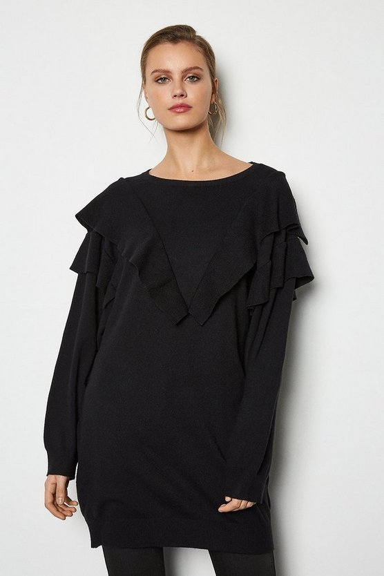 Black Ruffle Long Sleeve Long Jumper