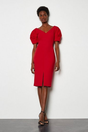 Red Puff Sleeve V Back Dress