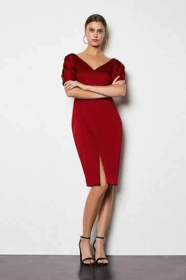Womens Dark red Puff Sculptural Sleeve Dress