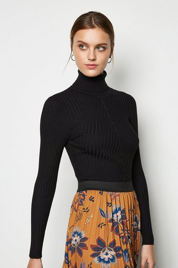 Womens Black Plated Skinny Rib Jumper