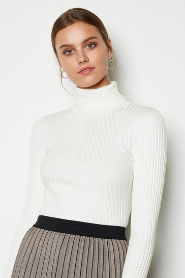 Womens Ivory Plated Skinny Rib Jumper