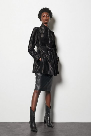 Womens Multi Short Pony Print Faux Fur Coat