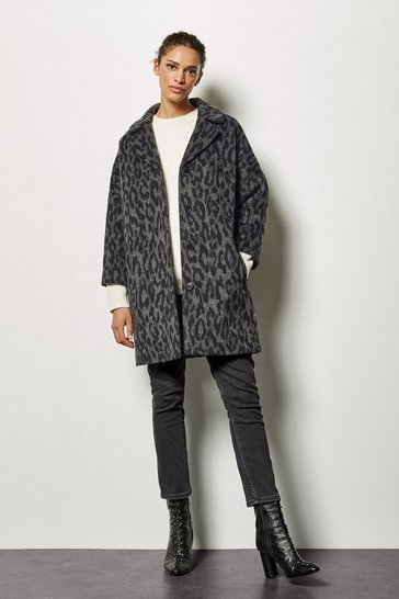 Womens Grey Leopard Wool Blend Coat