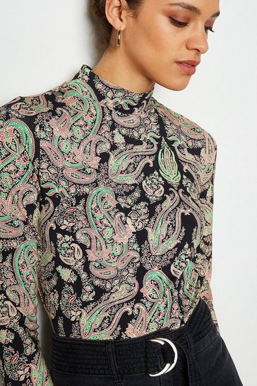 Multi Paisley Print Jersey Top