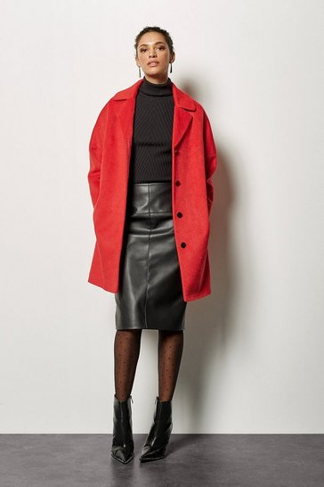 Womens Red Wool Blend Coat