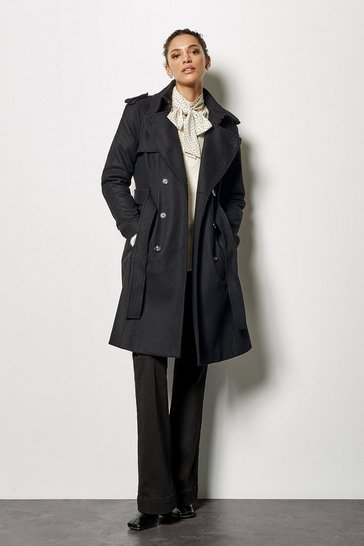 Womens Black Belted Classic Coat