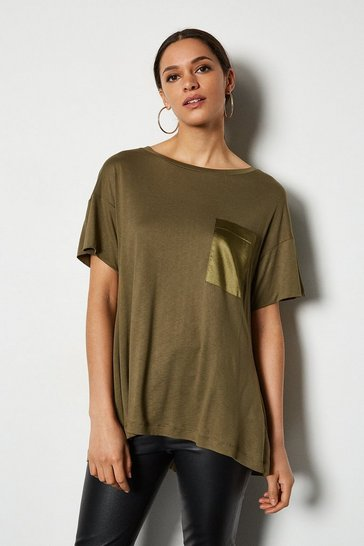 Khaki Oversized Satin Pocket T-Shirt