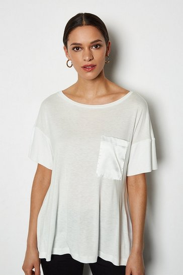 White Oversized Satin Pocket T-Shirt