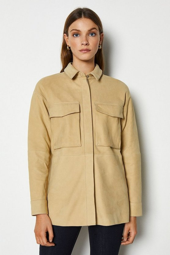 Sand Premium Buffed Leather Military Oversized Shirt