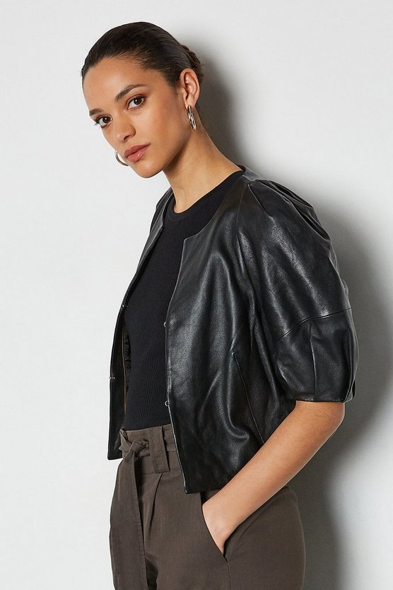 Black Leather Puff Sleeve Jacket