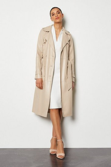 Off white Faux Leather Trench Coat