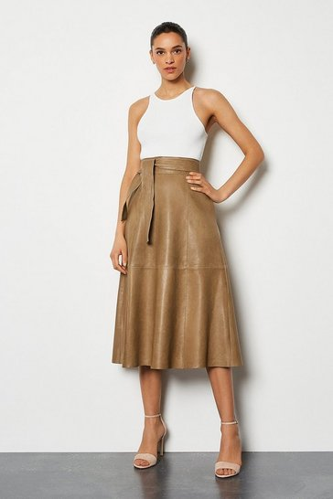 Tan Leather Tie Waist Midi Skirt
