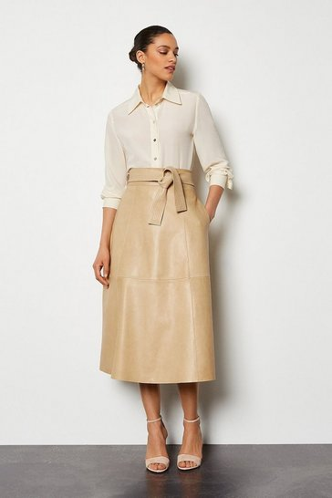 Taupe Leather Tie Waist Midi Skirt