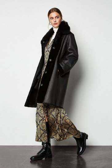 Black Reversible Merino Sheepskin Cocoon Coat