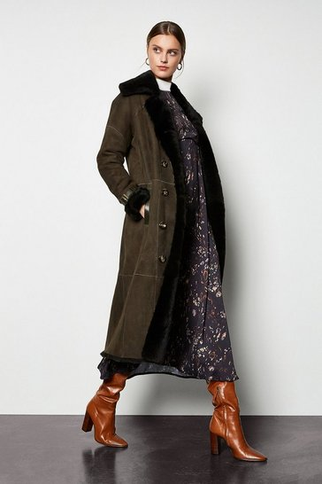 Womens Khaki Sheepskin Trenchcoat