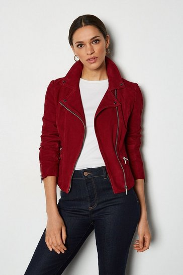 Red Suede Signature Biker Jacket
