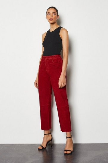 Red Suede Crop Trouser