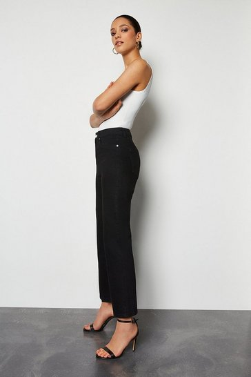High Rise Black Straight Jeans
