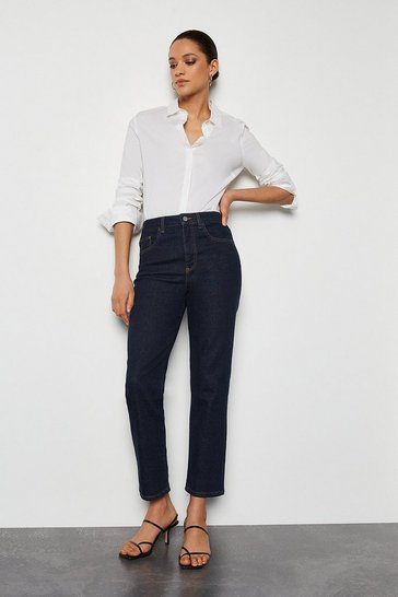 Indigo City Cut High Rise Straight Jeans