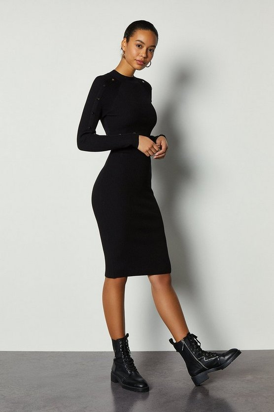 Black Metalwork Skiny Rib Knit Dress