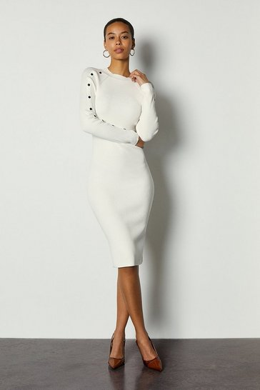 Ivory Metalwork Skiny Rib Knit Dress