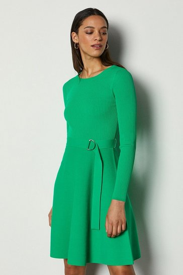 Green Full Skirted Belted Knit Dress