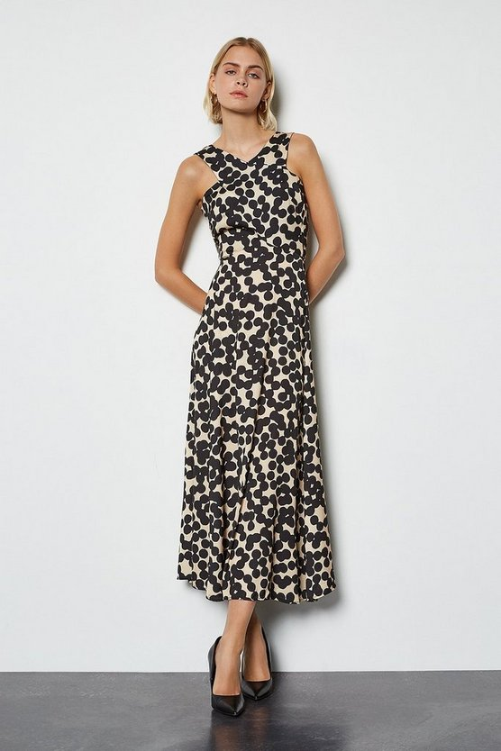 Multi Halterneck Spot Maxi Dress