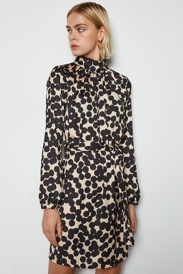 Multi Spot Belted Tunic Dress