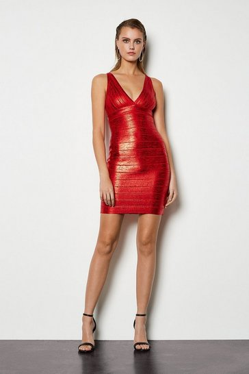 Red Metallic Bandage Knit Bodycon Dress