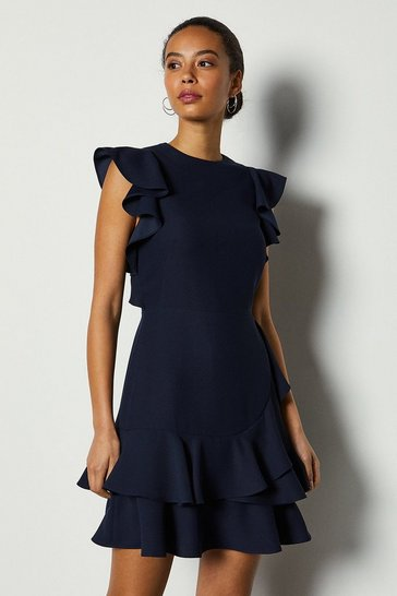 Navy Frill Sleeve and Hem Dress
