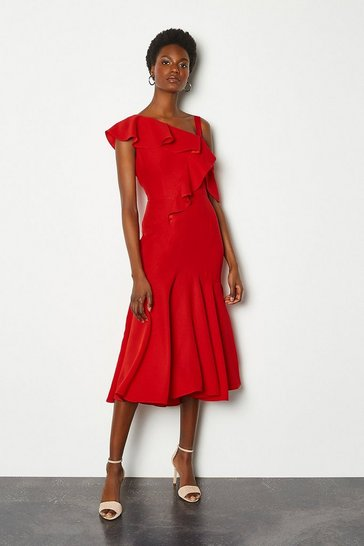 Red One Shoulder Ruffle Dress