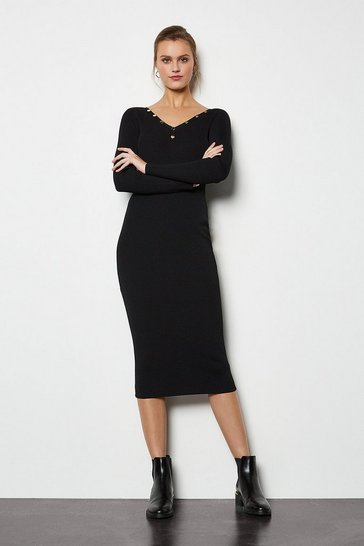 Black V Neck Popper Ribbed Midi Dress