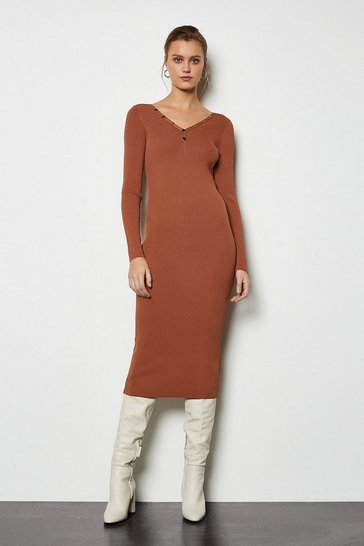Brick red V Neck Popper Ribbed Midi Dress