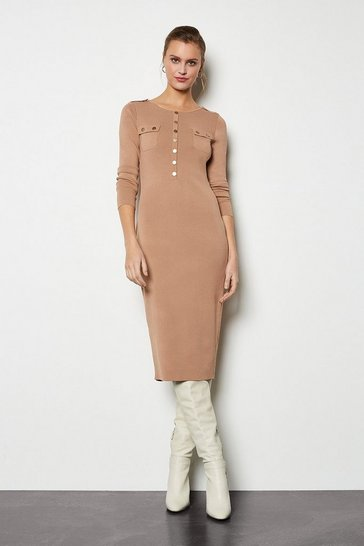 Camel Gold Button Knitted Midi Dress