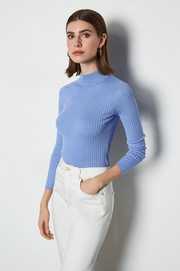 Bluebell Space dye skinny rib jumper