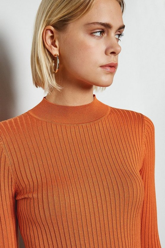 Rust Essential Skinny Rib Jumper