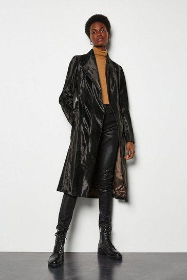 Black Printed Pony Wrap Coat