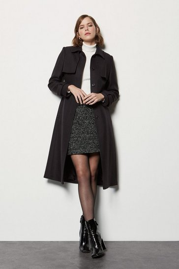 Womens Black Extended Storm Flap Coat