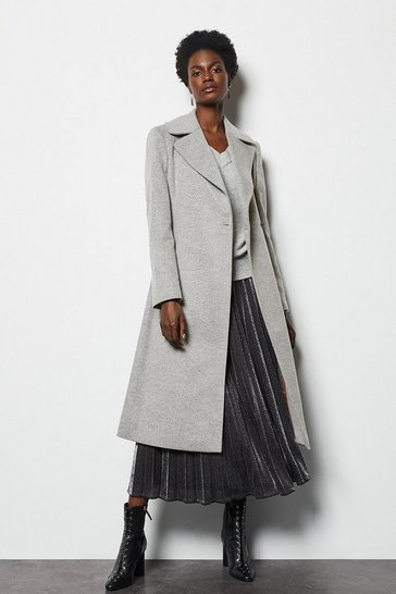 Grey Long Wrap Coat